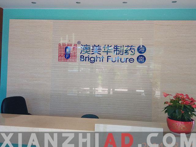 海口蓝色水晶字制作;红蓝色logo安装